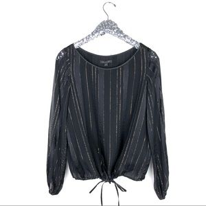 Rachel Zoe Black and Gold Striped Blouse Size 4